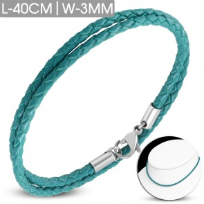 L-40cm W-3mm | Sky Blue Braided Leather Bracelet/ Choker w/ Stainless Steel Lobster Claw Clasp