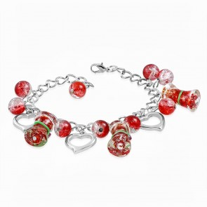 Fashion Alloy Red Pearl Glass Bead Open Love Heart Pillar Charm Link Chain Bracelet