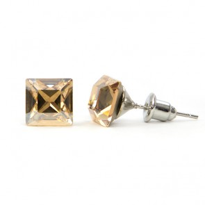 Square Stainless Steel Stud Earrings w/ Golden Shadow Swarovski® Elements Crystals
