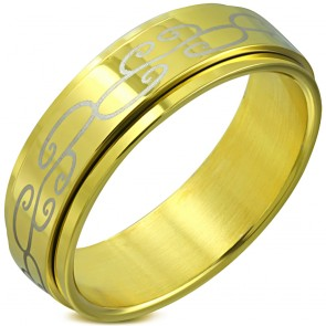 8mm | Gold Color Plated Stainless Steel 2-tone Spiral Vine Spinning Flat Band Ring