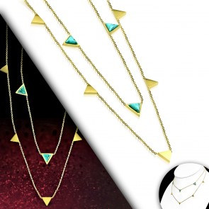 Gold Color Plated Stainless Steel Triangle Link Double Strand Chain Necklace w/ Turquoise Stone