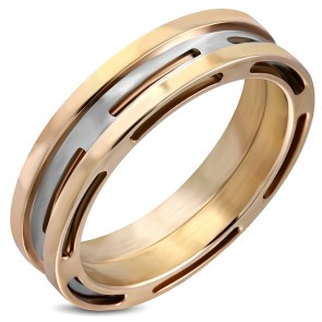 6mm | Stainless Steel 2-tone Cut-out Geometric Band Ring