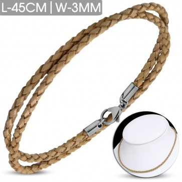 L-45cm W-3mm | Brown Braided Leather Bracelet/ Choker w/ Stainless Steel Lobster Claw Clasp Lock
