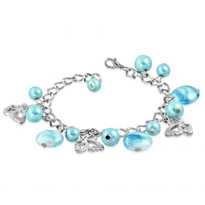 Fashion Alloy Sky Blue Pearl Glass Bead Butterfly Charm Link Chain Bracelet