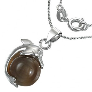 Fashion Alloy Dolphin Spinning Ball Charm Chain Necklace w/ Dark Brown Cats Eyes Stone