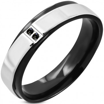 6mm | Stainless Steel 2-tone Pave-Set Comfort Fit Wedding Flat Band Ring w/ Jet Black CZ