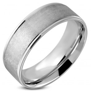 8mm | Stainless Steel Matte Finished Engravable Comfort Fit Wedding Flat Band Ring