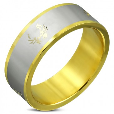 8mm | Gold Color Plated Stainless Steel 2-tone Tribal Design Flat Band Ring