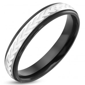 4mm | Stainless Steel 3-tone White Enameled Comfort Fit Half-Round Wedding Band Ring