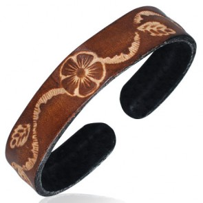Genuine Leather Engraved Spiral Flower Vine Cuff Bangle