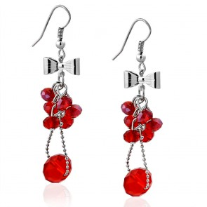 Fashion Alloy Bow Red Cluster Bead Long Drop Hook Earrings (pair)