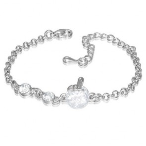 Fashion Alloy Crystal Circle Extender Chain Bracelet w/ Clear CZ