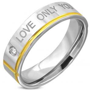 6mm | Stainless Steel 2-tone Affirmation-Love Comfort Fit Wedding Flat Band Ring w/ Clear