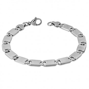 Stainless Steel Lobster Claw Clasp Closure Grooved Flat Oval Link Bracelet