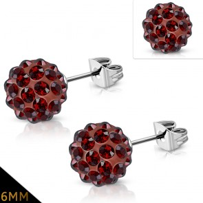 6mm | Stainless Steel Argil Disco Ball Shamballa Stud Earrings w/ Brown Red CZ (pair)