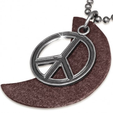 Fashion Alloy Peace Sign Half-Moon Crescent Brown Leather Charm Military Ball Link Chain Biker Necklace