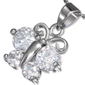 Fashion Alloy Crystal Round Circle Butterfly Charm Chain Necklace w/ Clear CZ