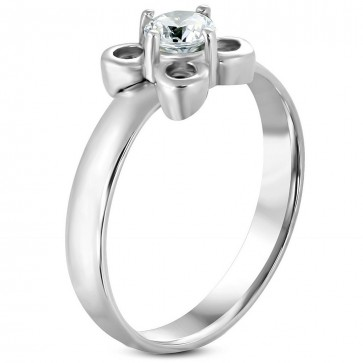 Stainless Steel Prong-Set Flower Fancy Ring w/ Clear CZ 