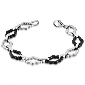 Stainless Steel Lobster Claw Clasp Closure 2-tone Flower Geometric Oval Link Bracelet