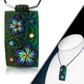 Fashion Fimo/ Polymer Clay Flower Tag Charm Necklace w/ Clear & Colorful CZ