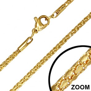 L44cm W2mm | Gold Color Plated Stainless Steel Lobster Claw Clasp Mirrored Mesh-Link Chain
