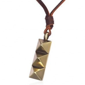 Fashion Alloy Row of Pyramid Tag Adjustable Brown Leather Biker Necklace