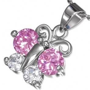 Fashion Alloy Crystal Round Circle Butterfly Charm Chain Necklace w/ Clear & Rose Pink CZ