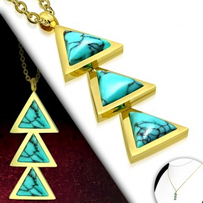 Gold Color Plated Stainless Steel Triple Triangle Link Charm Chain Necklace w/ Turquoise Stone