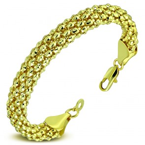 10mm | Fashion Alloy Gold Color Plated Popcorn Link Chain Bracelet