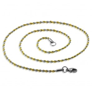 L45cm W2mm | Stainless Steel 2-tone Lobster Claw Clasp Braided Rope Link Chain