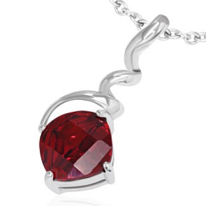 Fashion Alloy Crystal Square Charm Twisted/ Corkscrew Pendant w/ Maroon CZ
