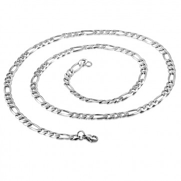 L55cm W4mm | Stainless Steel Lobster Claw Clasp Flat Figaro Link Chain