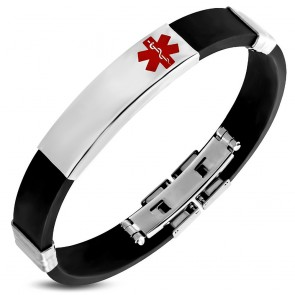 Black Rubber Bracelet w/ Stainless Steel 2-tone Medical Alert ID Watch-Style