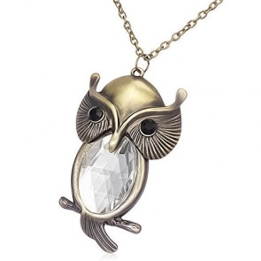 Fashion Alloy Vintage Crystal Owl Charm Lobster Clasp Closure Necklace w/ Faceted Clear CZ