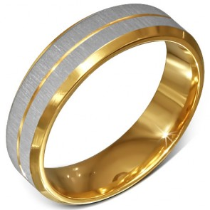 6mm | Gold Color Plated Stainless Steel Satin Finished 2­-tone Beveled Edge Comfort Fit Half­-Round Band Ring ­