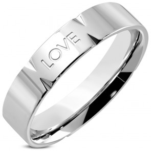 5mm | Stainless Steel Love Comfort Fit Wedding Flat Band Ring 