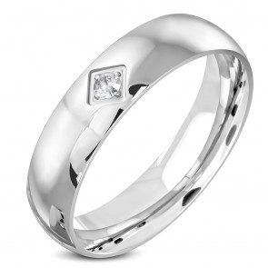 6mm | Stainless Steel Comfort Fit Half-Round Wedding Band Ring w/ Clear CZ 