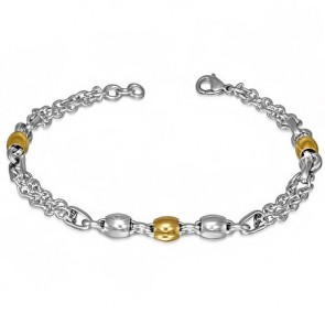 Stainless Steel Lobster Claw Clasp Closure 2-tone Barrel Beads Double Strand Link Chain Bracelet
