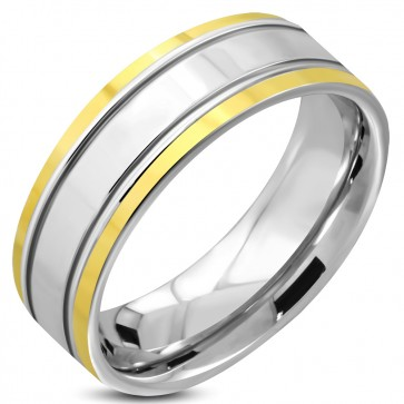 7mm | Stainless Steel 2-tone Engravable Comfort Fit Flat Band Ring