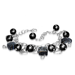 Fashion Alloy Black Pearl Bead Glass Square Love Heart Bell Charm Link Chain Bracelet