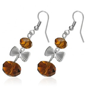 Fashion Alloy Brown Bead Bow Long Drop Hook Earring (pair)