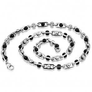 L60cm W7mm | Stainless Steel 2-tone Lobster Claw Clasp Fancy Ball Oval Link Chain