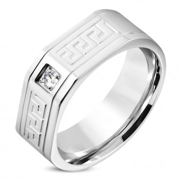 9mm | Stainless Steel Greek Key Comfort Fit Band Ring w/ Clear CZ