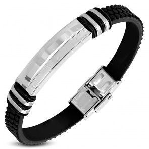 Black Rubber Bracelet w/ Stainless Steel 2-tone Geometric Wavy Watch-Style