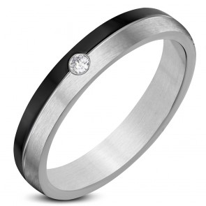 4mm | Stainless Steel 2-­tone Center Grooved Half­-Round Wedding Band Ring w/ Clear CZ ­