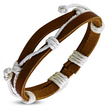 Fashion Double Wrap Rope Adjustable Brown Leather Bracelet