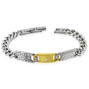 Stainless Steel 2-tone Hammered Watch-Style Curb Cuban Link Bracelet w/ Clear