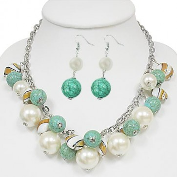 Fashion Alloy Set Crystal-Accented Glass Pearl Bead (Pair of Earrings & Necklace)