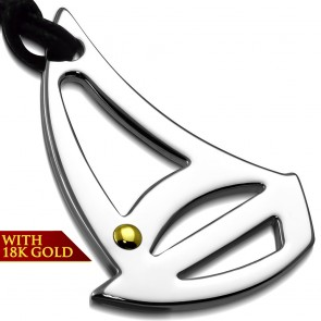 Stainless Steel 2-tone Sail Boat Charm Pendant w/ 18 Karats Yellow Gold Adjustable Black String Cord Necklace