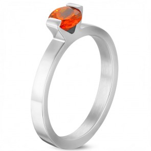 6mm | Stainless Steel Compression­ Set Round Solitaire Engagement Band Ring w/ Opal Orange CZ ­